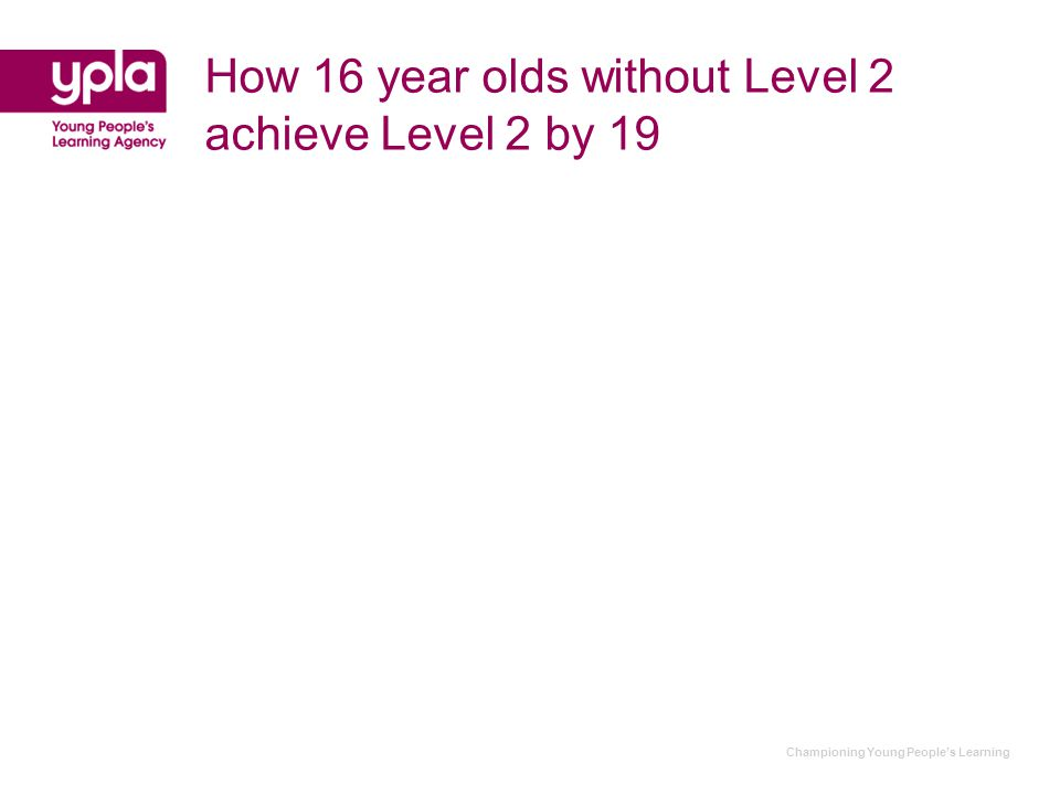 Championing Young People's Learning How 16 year olds without Level 2 achieve Level 2 by 19