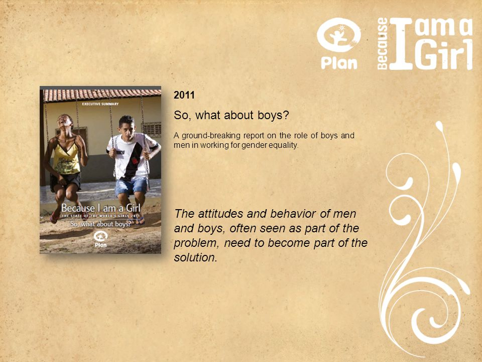 2011 A ground-breaking report on the role of boys and men in working for gender equality.