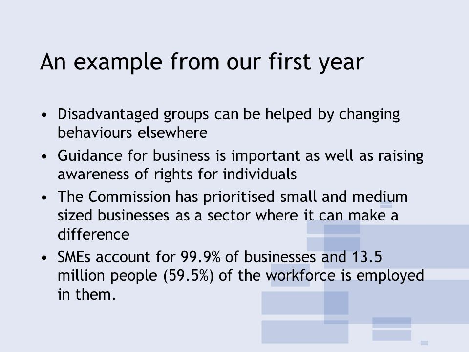 An example from our first year Disadvantaged groups can be helped by changing behaviours elsewhere Guidance for business is important as well as raising awareness of rights for individuals The Commission has prioritised small and medium sized businesses as a sector where it can make a difference SMEs account for 99.9% of businesses and 13.5 million people (59.5%) of the workforce is employed in them.