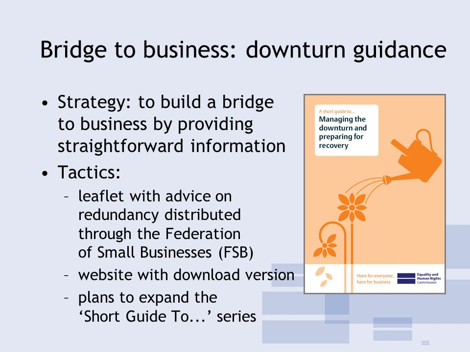 Bridge to business: downturn guidance Strategy: to build a bridge to business by providing straightforward information Tactics: –leaflet with advice on redundancy distributed through the Federation of Small Businesses (FSB) –website with download version –plans to expand the 'Short Guide To...' series