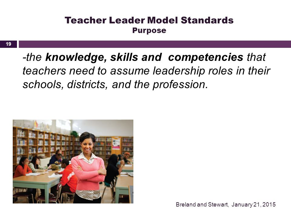 Teacher Leader Model Standards Purpose -the knowledge, skills and competencies that teachers need to assume leadership roles in their schools, distric