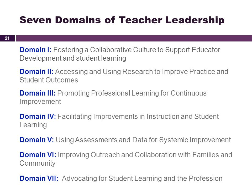 Seven Domains of Teacher Leadership Domain I: Fostering a Collaborative Culture to Support Educator Development and student learning Domain II: Access