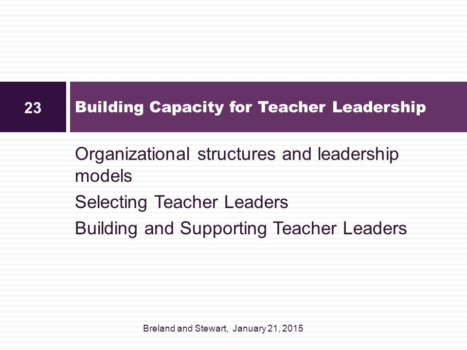 Organizational structures and leadership models Selecting Teacher Leaders Building and Supporting Teacher Leaders Building Capacity for Teacher Leader