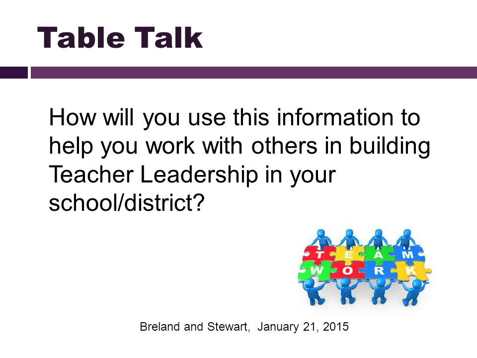 How will you use this information to help you work with others in building Teacher Leadership in your school/district? Table Talk Breland and Stewart,