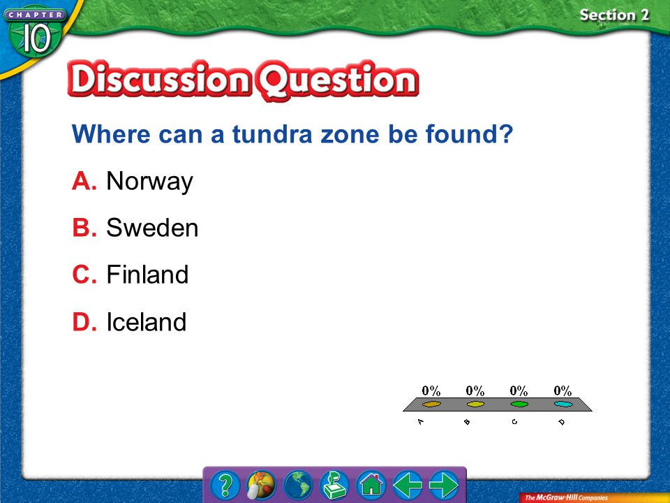 A.A B.B C.C D.D Section 2 Where can a tundra zone be found? A.Norway B.Sweden C.Finland D.Iceland