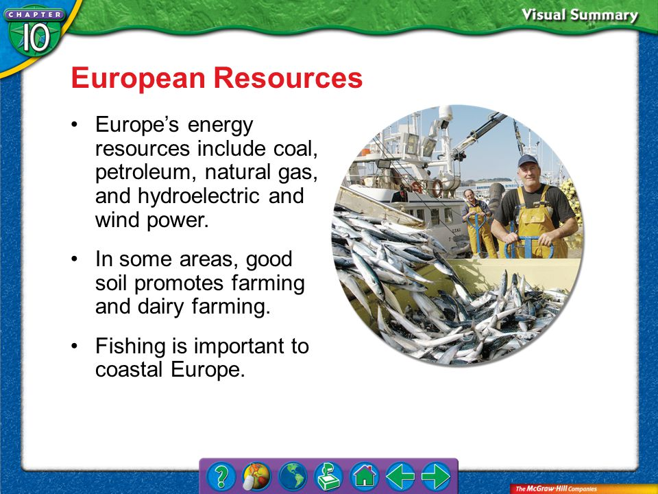 VS 3 European Resources Europe's energy resources include coal, petroleum, natural gas, and hydroelectric and wind power.