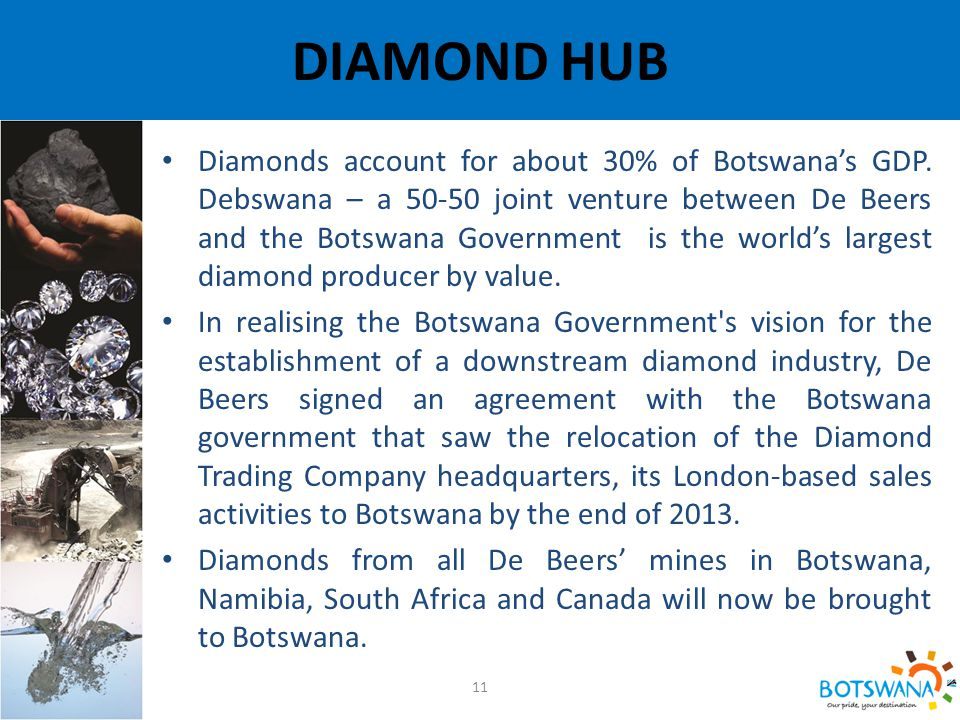 DIAMOND HUB 11 Diamonds account for about 30% of Botswana's GDP.