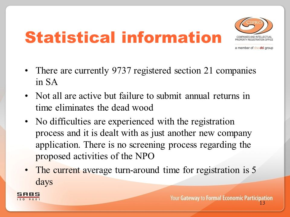 Statistical information There are currently 9737 registered section 21 companies in SA Not all are active but failure to submit annual returns in time