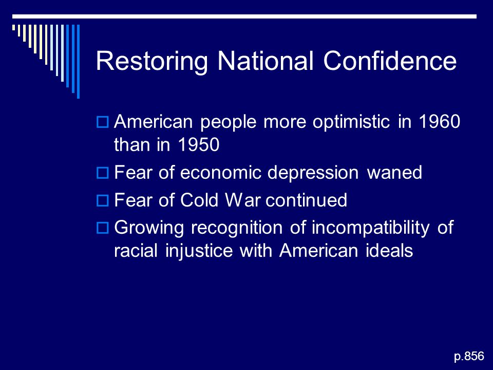 Restoring National Confidence  American people more optimistic in 1960 than in 1950  Fear of economic depression waned  Fear of Cold War continued