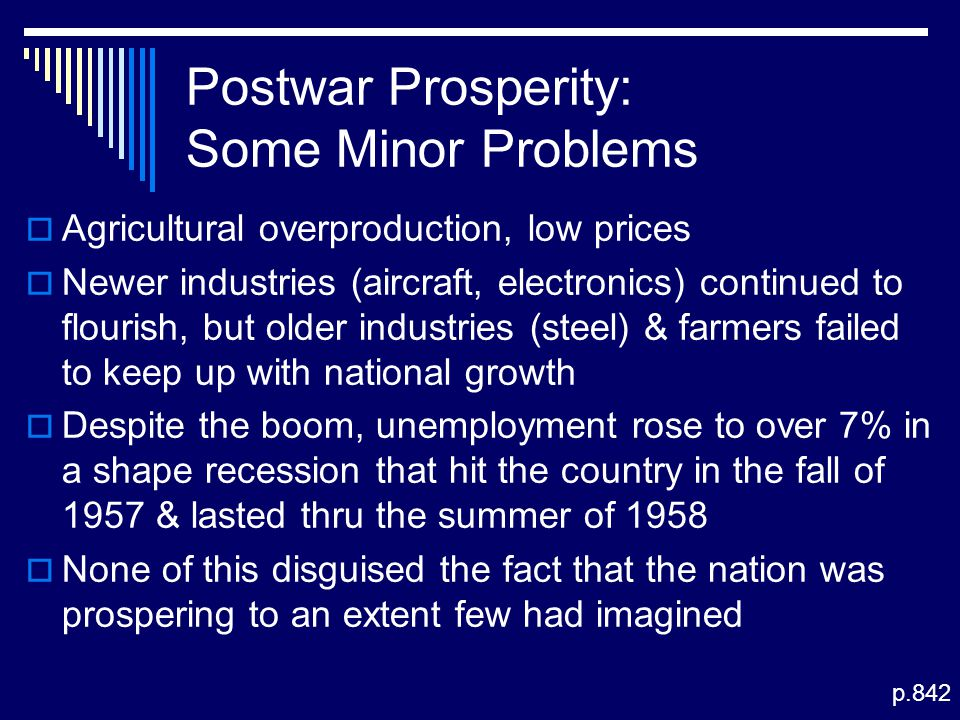 Postwar Prosperity: Some Minor Problems  Agricultural overproduction, low prices  Newer industries (aircraft, electronics) continued to flourish, bu