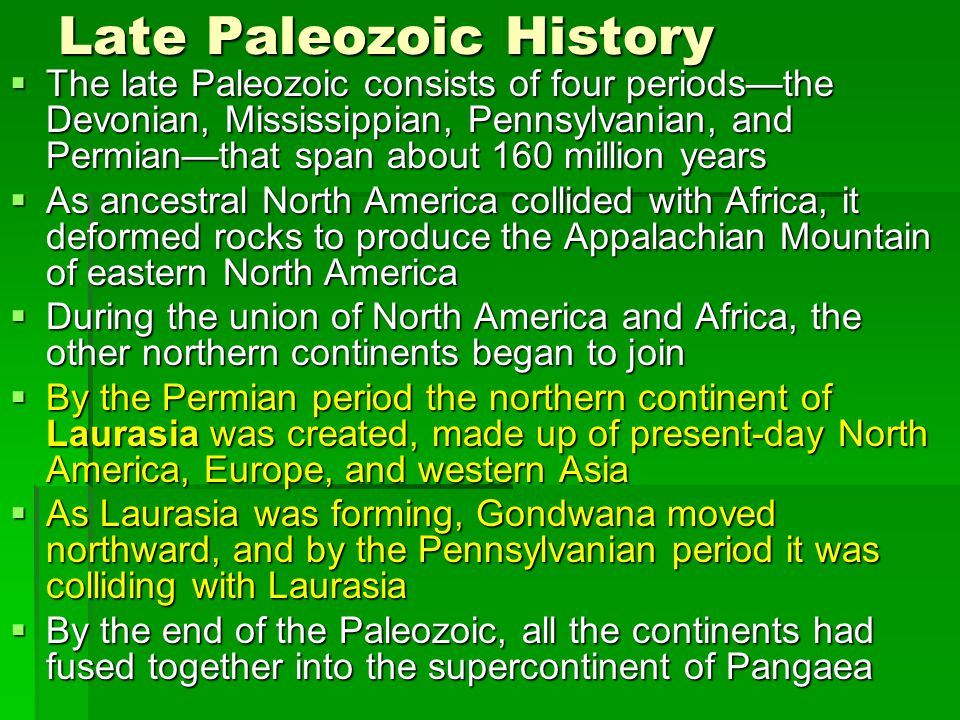 Late Paleozoic History  The late Paleozoic consists of four periods—the Devonian, Mississippian, Pennsylvanian, and Permian—that span about 160 milli