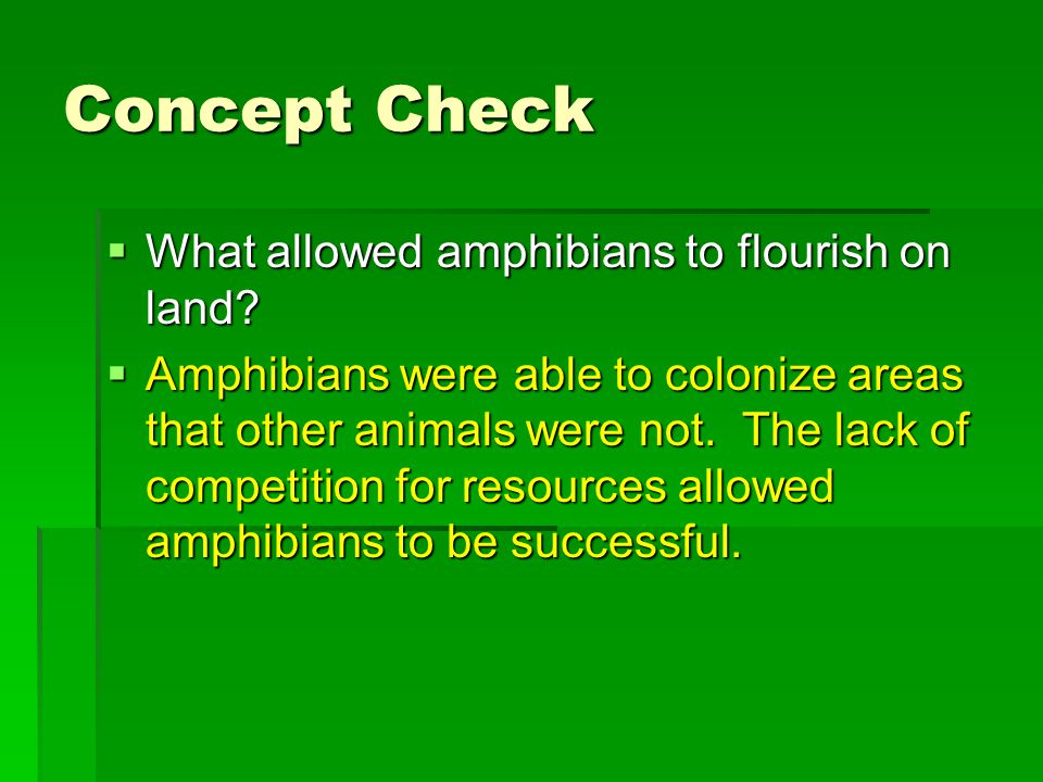 Concept Check  What allowed amphibians to flourish on land?  Amphibians were able to colonize areas that other animals were not. The lack of competi