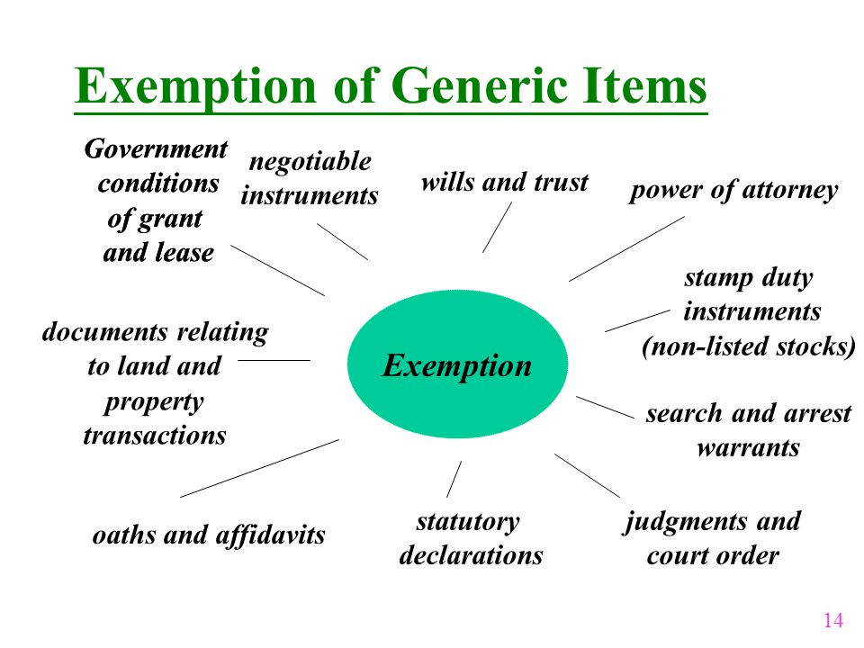 Exemption of Generic Items Exemption Government conditions of grant and lease Government conditions of grant and lease negotiable instruments wills and trust documents relating to land and property transactions stamp duty instruments (non-listed stocks) oaths and affidavits statutory declarations judgments and court order power of attorney search and arrest warrants 14