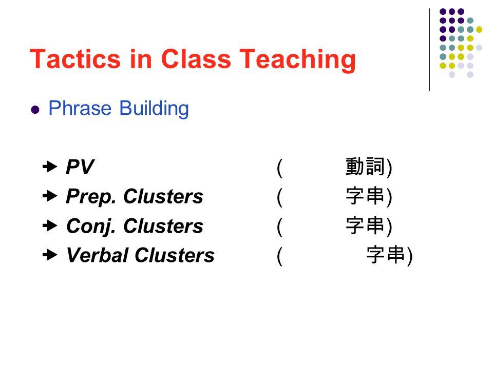 Tactics in Class Teaching Phrase Building  PV ( 片語化動詞 )  Prep.