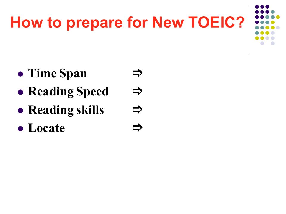 How to prepare for New TOEIC Time Span  Reading Speed  Reading skills  Locate 