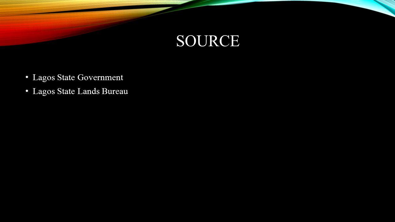 SOURCE Lagos State Government Lagos State Lands Bureau