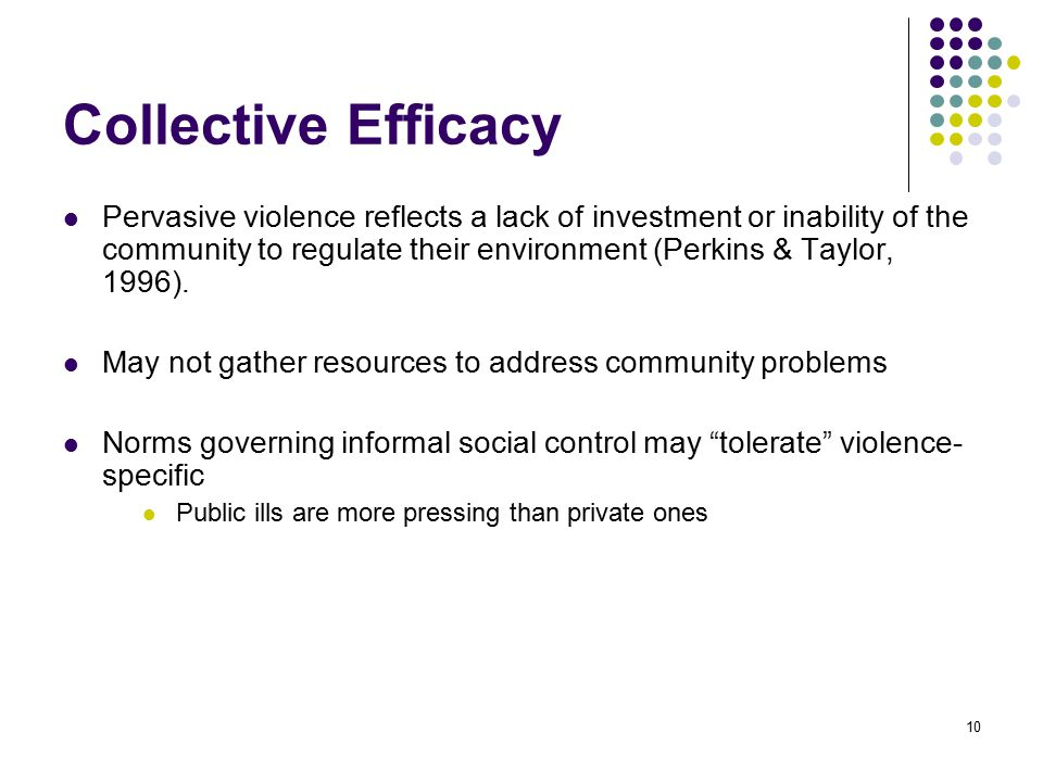 10 Collective Efficacy Pervasive violence reflects a lack of investment or inability of the community to regulate their environment (Perkins & Taylor, 1996).