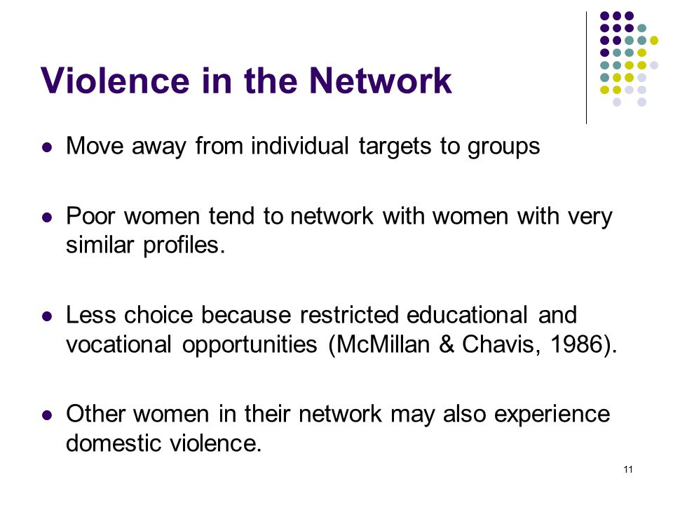 11 Violence in the Network Move away from individual targets to groups Poor women tend to network with women with very similar profiles.