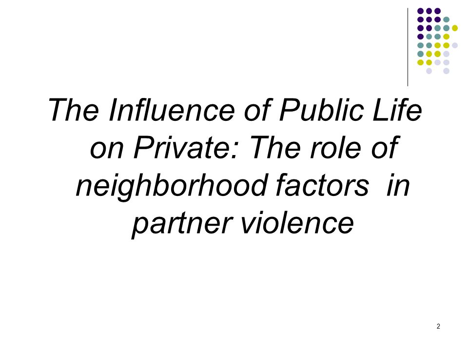 2 The Influence of Public Life on Private: The role of neighborhood factors in partner violence