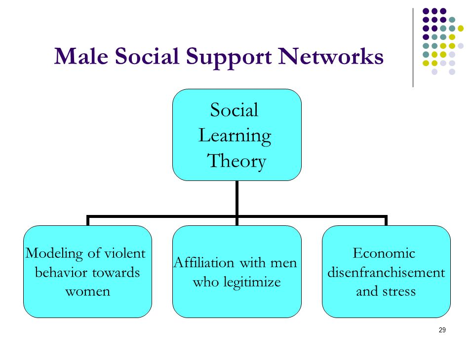 29 Male Social Support Networks Social Learning Theory Modeling of violent behavior towards women Affiliation with men who legitimize Economic disenfranchisement and stress