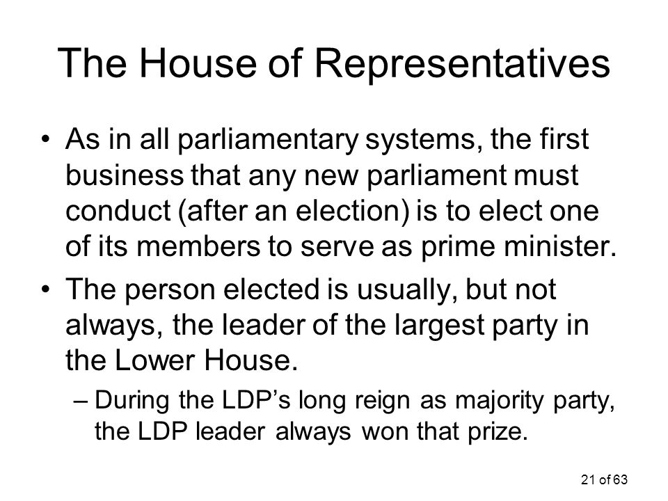 21 of 63 The House of Representatives As in all parliamentary systems, the first business that any new parliament must conduct (after an election) is