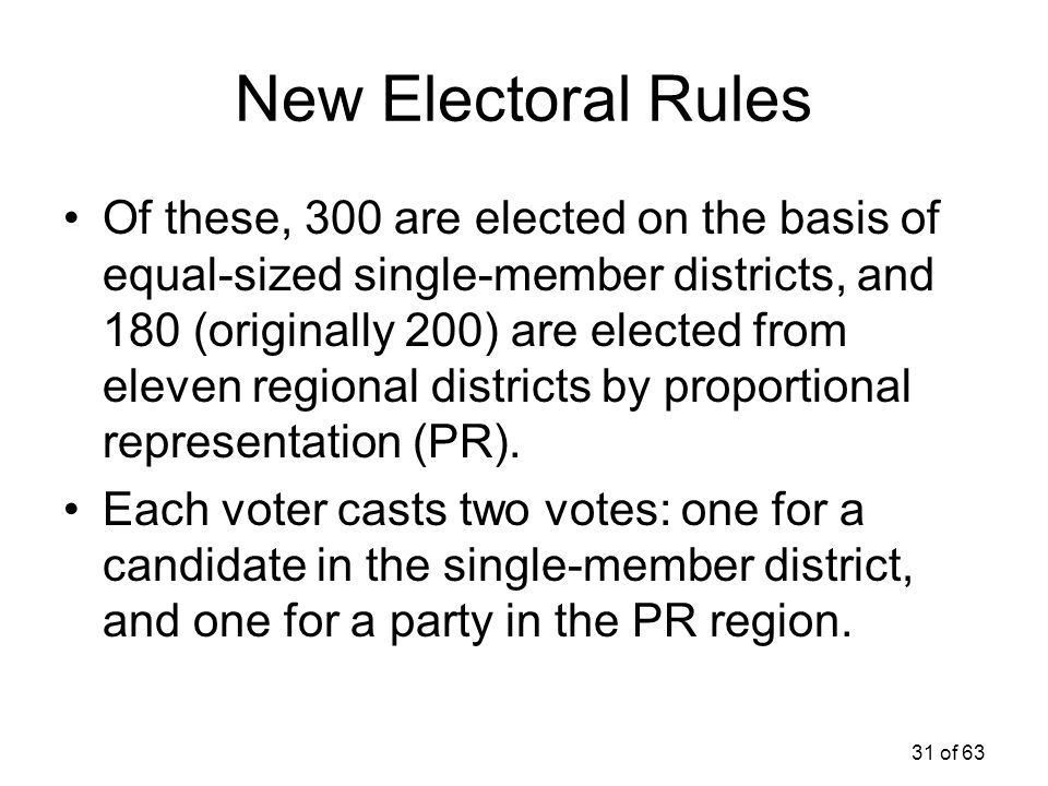 31 of 63 New Electoral Rules Of these, 300 are elected on the basis of equal-sized single-member districts, and 180 (originally 200) are elected from