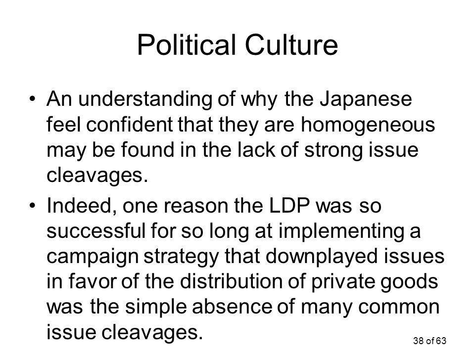 38 of 63 Political Culture An understanding of why the Japanese feel confident that they are homogeneous may be found in the lack of strong issue clea