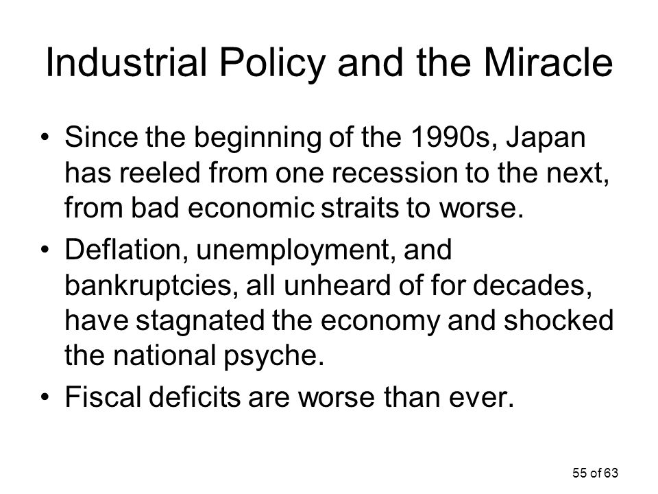 55 of 63 Industrial Policy and the Miracle Since the beginning of the 1990s, Japan has reeled from one recession to the next, from bad economic strait