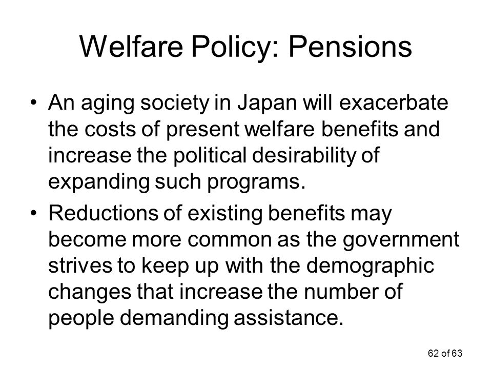 62 of 63 Welfare Policy: Pensions An aging society in Japan will exacerbate the costs of present welfare benefits and increase the political desirabil