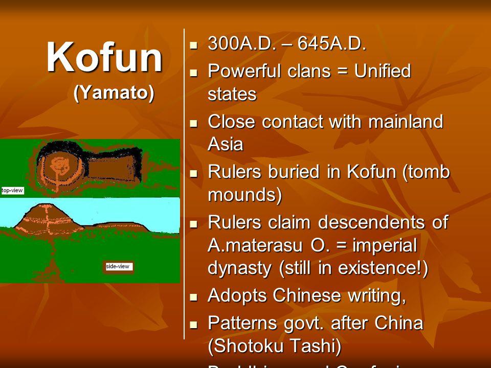 Kofun (Yamato) 300A.D. – 645A.D. 300A.D. – 645A.D. Powerful clans = Unified states Powerful clans = Unified states Close contact with mainland Asia Cl