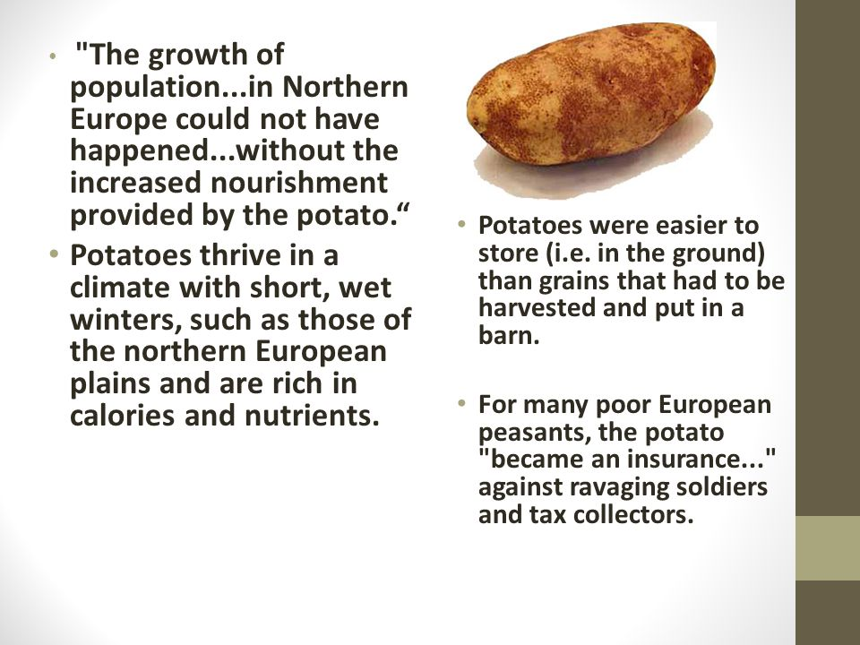 The growth of population...in Northern Europe could not have happened...without the increased nourishment provided by the potato. Potatoes thrive in a climate with short, wet winters, such as those of the northern European plains and are rich in calories and nutrients.