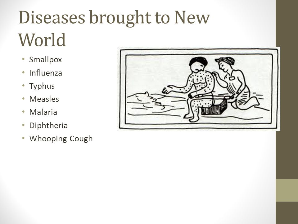 Diseases brought to New World Smallpox Influenza Typhus Measles Malaria Diphtheria Whooping Cough