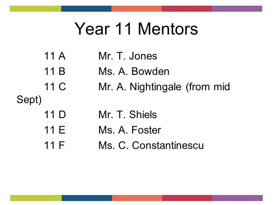 Year 11 Mentors 11 AMr. T. Jones 11 BMs. A. Bowden 11 CMr.