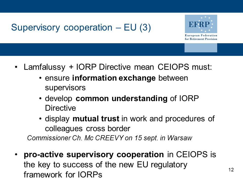 12 Supervisory cooperation – EU (3) Lamfalussy + IORP Directive mean CEIOPS must: ensure information exchange between supervisors develop common understanding of IORP Directive display mutual trust in work and procedures of colleagues cross border Commissioner Ch.