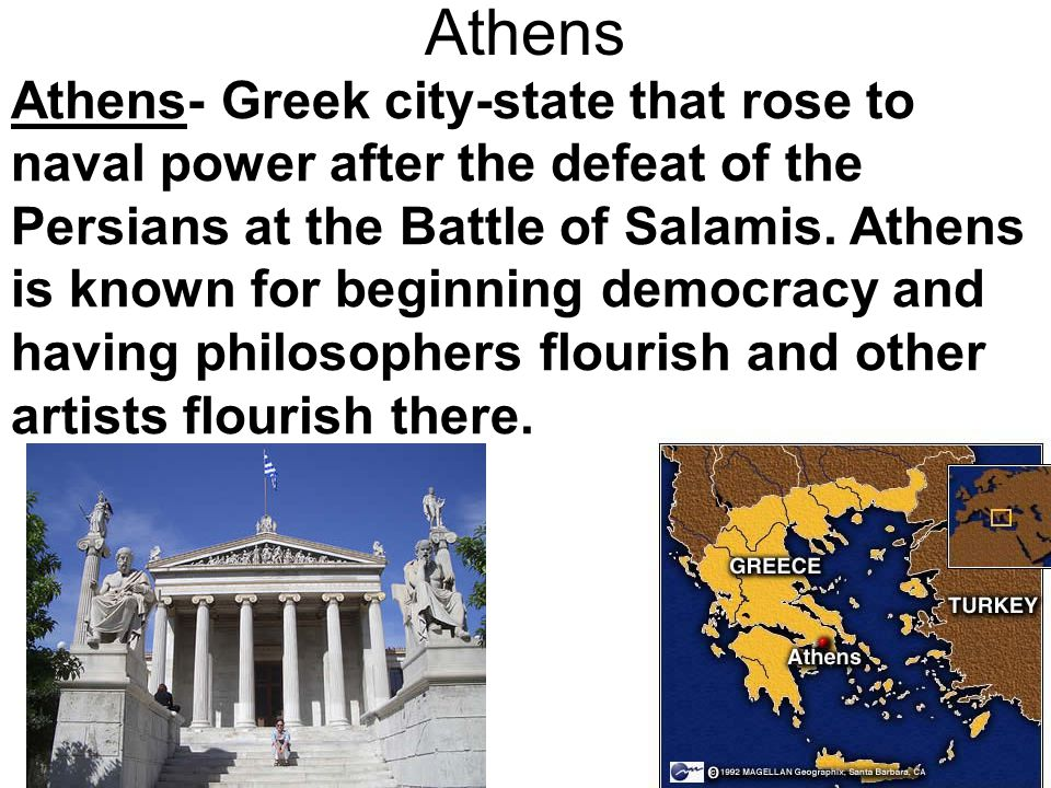 Sparta Sparta- Rival city state to Athens. Sparta had a military culture and government.