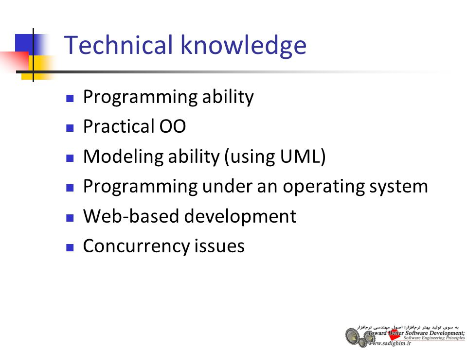 Technical knowledge Programming ability Practical OO Modeling ability (using UML) Programming under an operating system Web-based development Concurrency issues