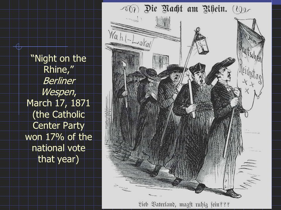 """Night on the Rhine,"" Berliner Wespen, March 17, 1871 (the Catholic Center Party won 17% of the national vote that year)"