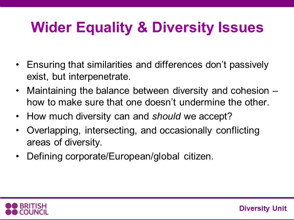 Ensuring that similarities and differences don't passively exist, but interpenetrate. Maintaining the balance between diversity and cohesion – how to