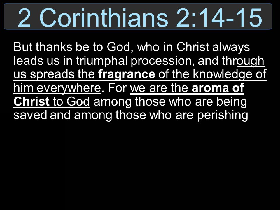 2 Corinthians 2:14-15 But thanks be to God, who in Christ always leads us in triumphal procession, and through us spreads the fragrance of the knowled