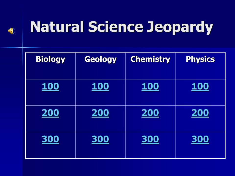 Natural Science Jeopardy BiologyGeologyChemistryPhysics 100 200 300