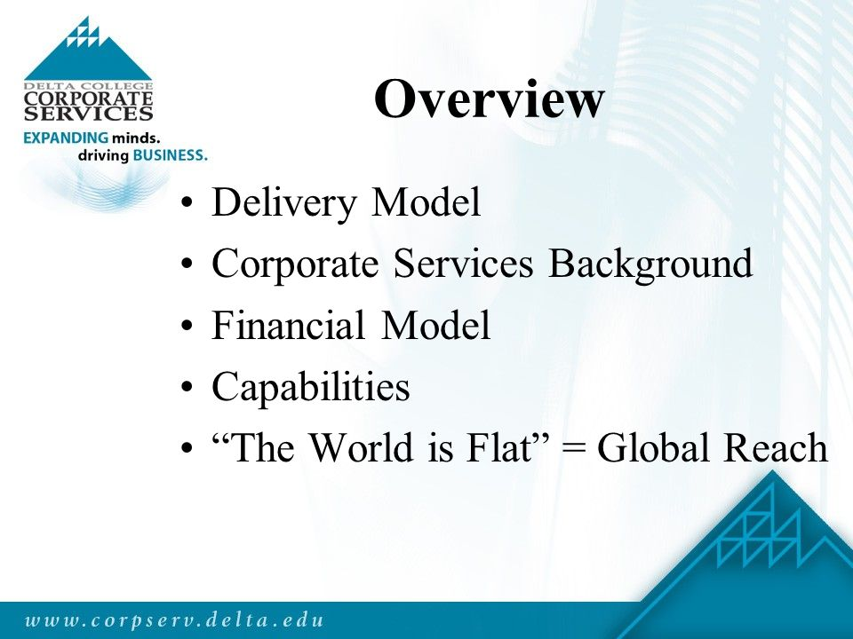 Overview Delivery Model Corporate Services Background Financial Model Capabilities The World is Flat = Global Reach