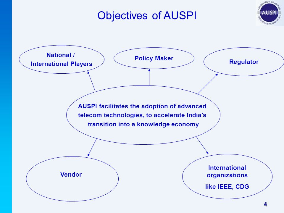 4 Objectives of AUSPI AUSPI facilitates the adoption of advanced telecom technologies, to accelerate India's transition into a knowledge economy Vendor National / International Players Policy Maker Regulator International organizations like IEEE, CDG
