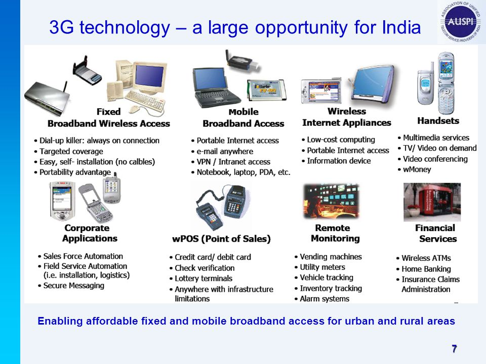 7 3G technology – a large opportunity for India Enabling affordable fixed and mobile broadband access for urban and rural areas
