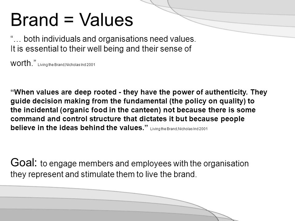 … both individuals and organisations need values.