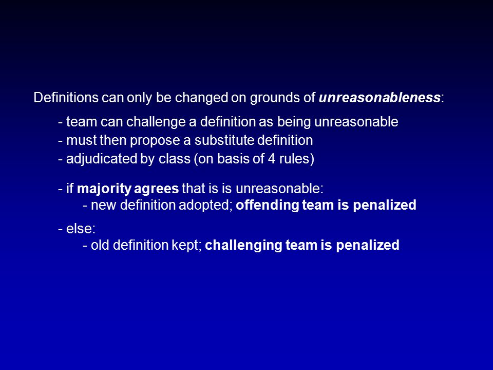 Definitions can only be changed on grounds of unreasonableness: - team can challenge a definition as being unreasonable - must then propose a substitu