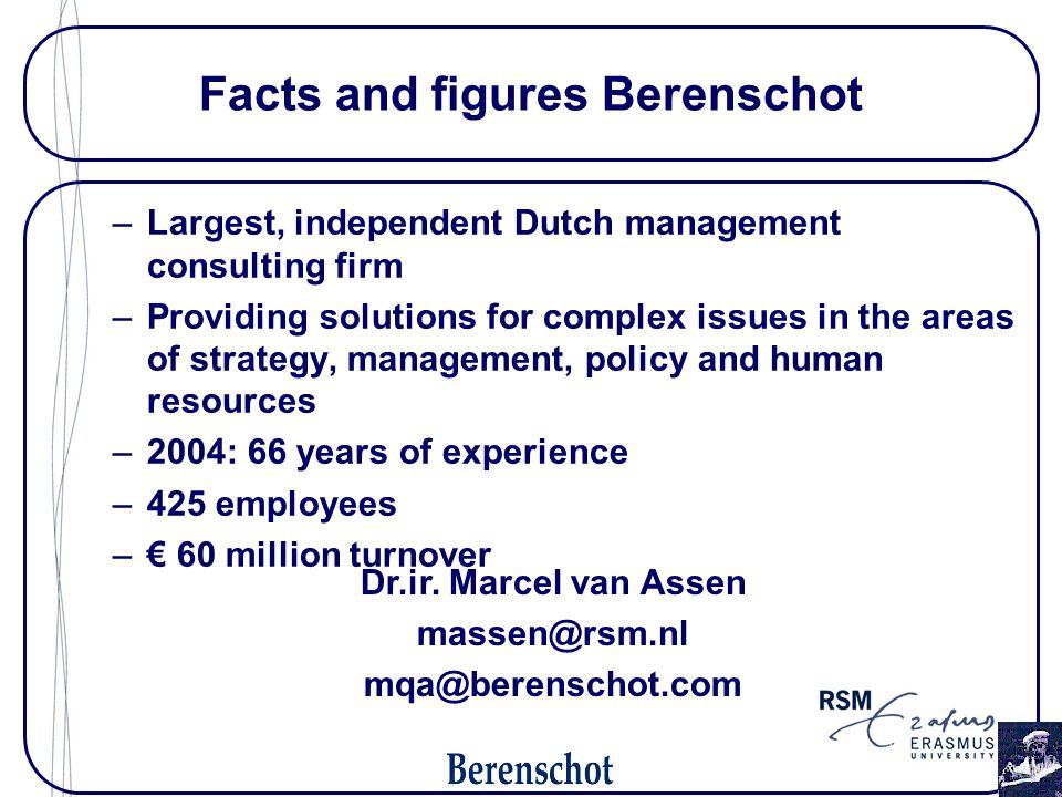 Facts and figures Berenschot –Largest, independent Dutch management consulting firm –Providing solutions for complex issues in the areas of strategy,