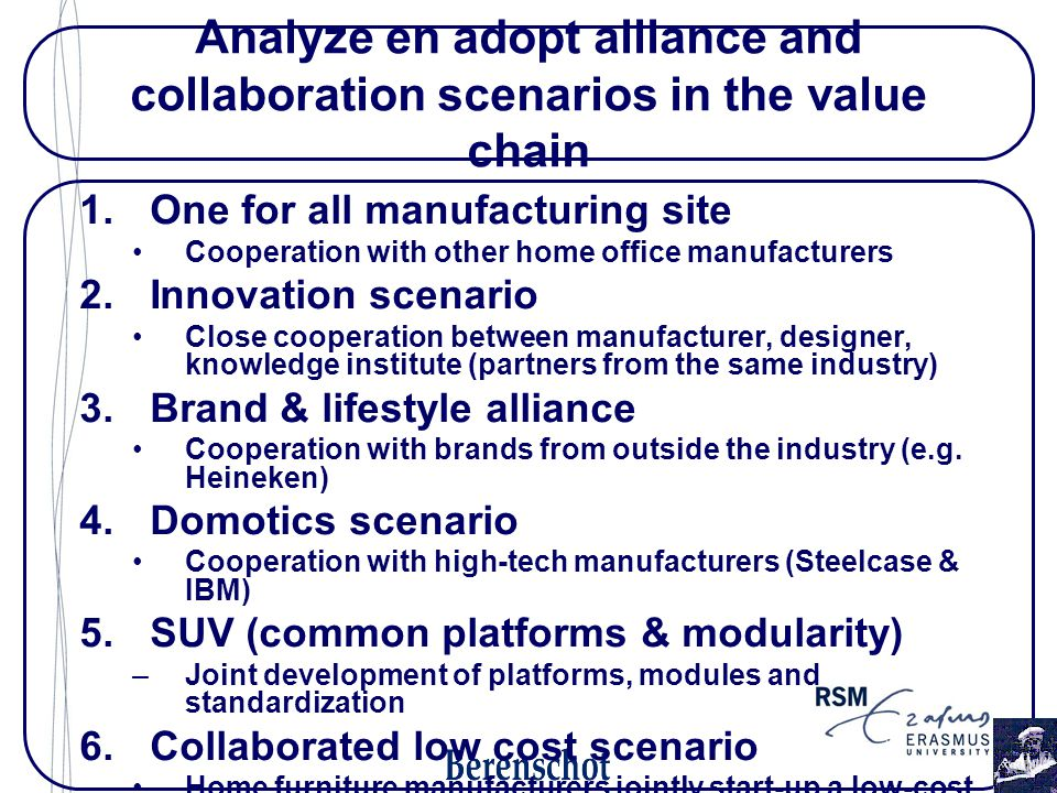 Analyze en adopt alliance and collaboration scenarios in the value chain 1.One for all manufacturing site Cooperation with other home office manufacturers 2.Innovation scenario Close cooperation between manufacturer, designer, knowledge institute (partners from the same industry) 3.Brand & lifestyle alliance Cooperation with brands from outside the industry (e.g.