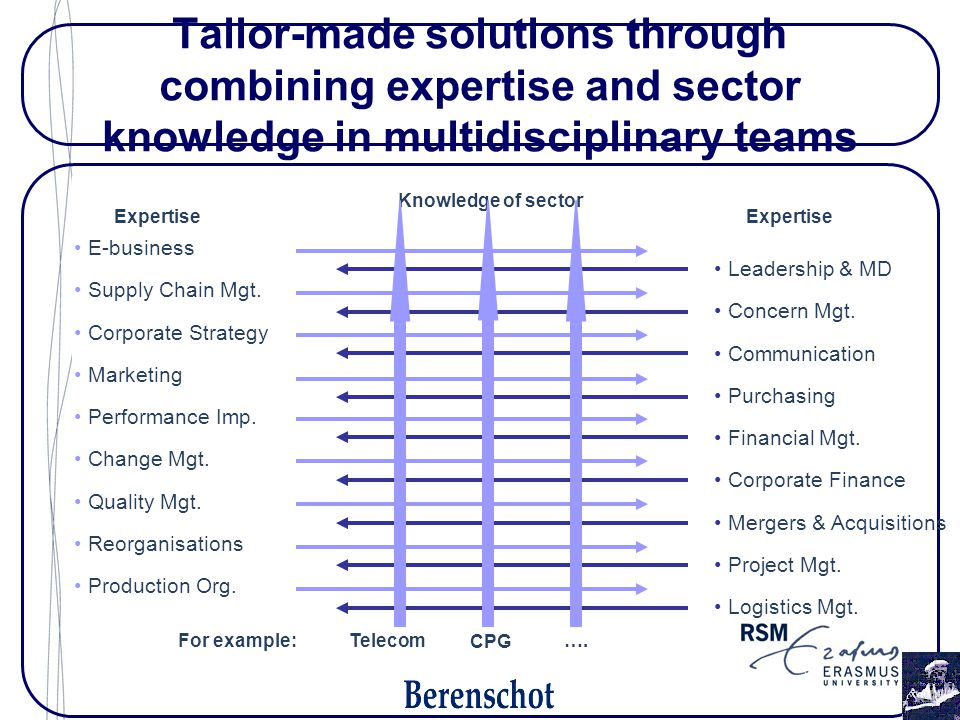 E-business Supply Chain Mgt. Corporate Strategy Marketing Performance Imp. Change Mgt. Quality Mgt. Reorganisations Production Org. Leadership & MD Co