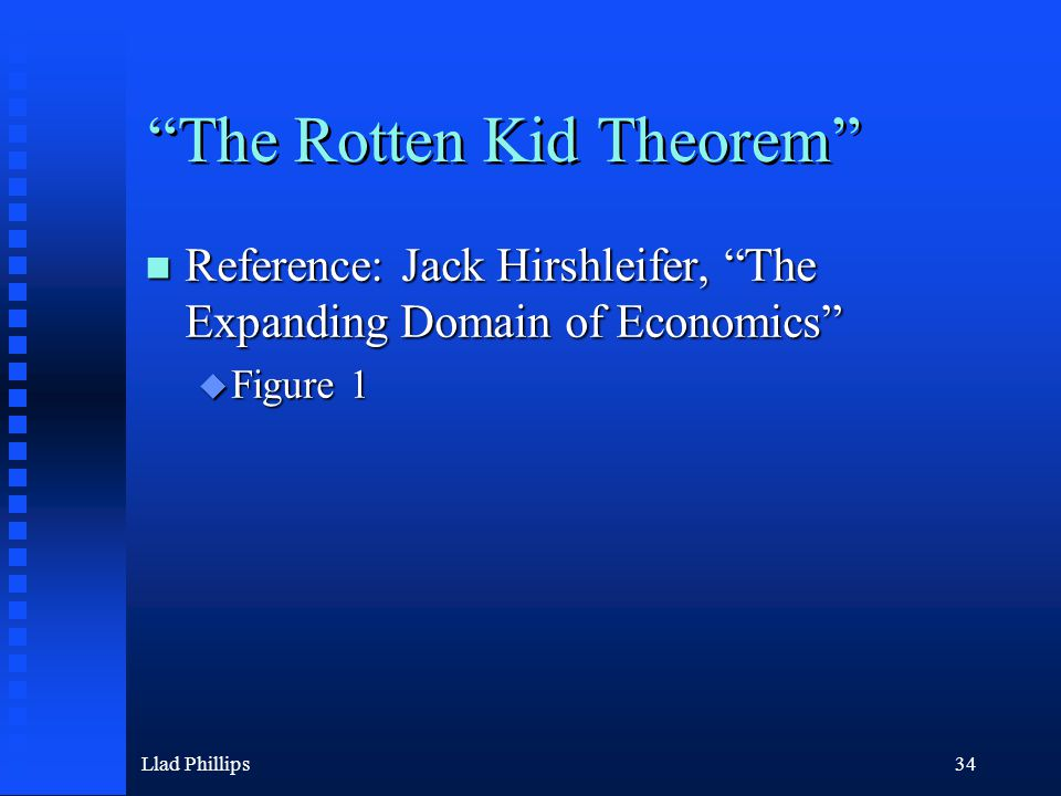 Llad Phillips34 The Rotten Kid Theorem Reference: Jack Hirshleifer, The Expanding Domain of Economics Reference: Jack Hirshleifer, The Expanding Domain of Economics  Figure 1
