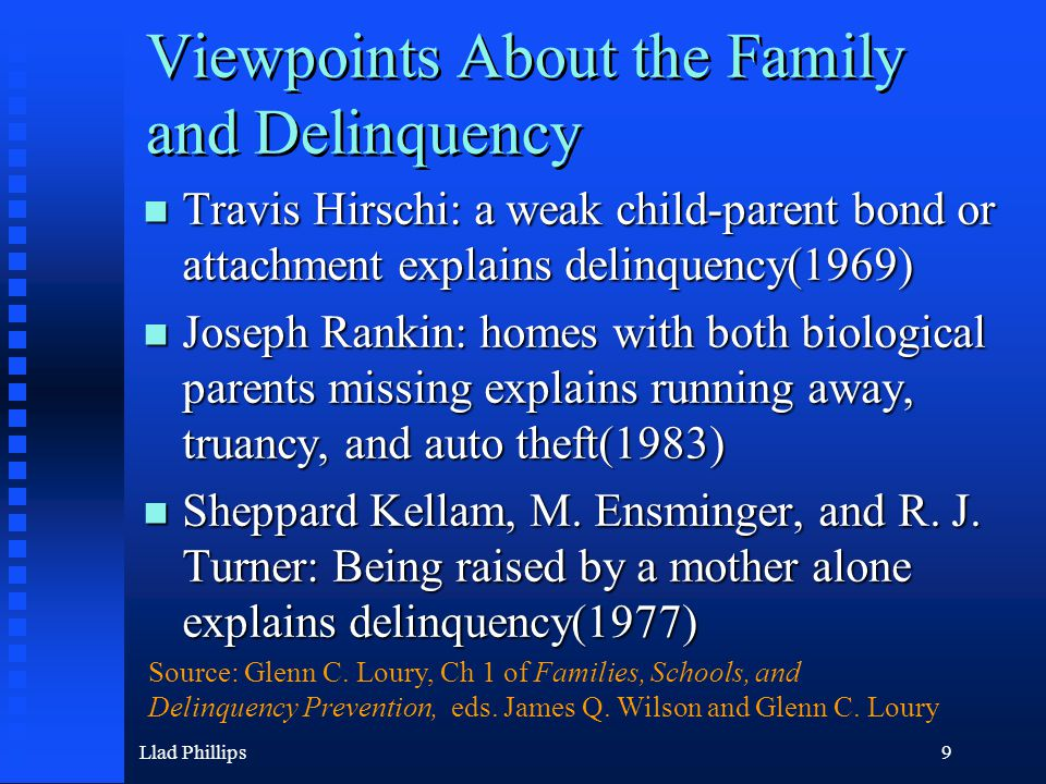 Llad Phillips50 NLSY: Family Structure, Age 14 3119 girls and young women, ages 14-19, never married Source: William Comanor and Llad Phillips, The Effect of Family Structure on Teen Delinquency